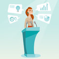 Business woman giving speech at business seminar. Royalty Free Stock Photo
