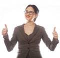 Business woman giving thumbs up portrait of attractive over white background Stock Images