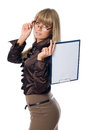 Business woman in glasses holding a clipboard with a blank sheet isolated on white background Royalty Free Stock Image