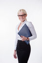 Business woman in glasses isolated Royalty Free Stock Photos