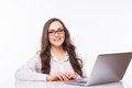 Business Woman  with glasses using laptop computer pc. Royalty Free Stock Photo