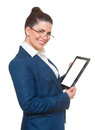 Business woman with glasses using tablet Royalty Free Stock Photo