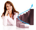 Business woman with a growth graph successful isolated over white Royalty Free Stock Photo
