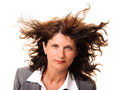 image photo : Business woman hair in the wind isolated