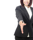 Business woman hand to greet Stock Photo