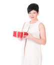 Business woman happy smile hold gift box in hands. Royalty Free Stock Photo