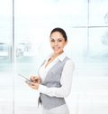 Business woman happy smile hold tablet pad Royalty Free Stock Photo
