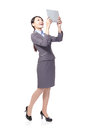 Business woman happy using tablet pc Royalty Free Stock Image