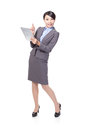 Business woman happy using tablet pc Stock Photography
