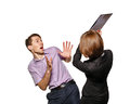 Business woman has an effort subordinate folder. Royalty Free Stock Photo