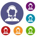 Business woman with headset icons set