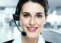 Business woman in headsets. Royalty Free Stock Photo