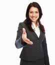 Business woman with her hand stretched Stock Images