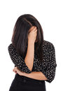 Business woman hiding face in shame isolated on white Royalty Free Stock Photo