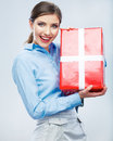 Business woman hold gift box in christmas color st Stock Photos