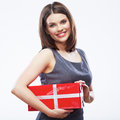 Business woman hold gift box. Royalty Free Stock Photo