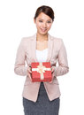 Business woman hold with gift box Stock Photos