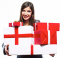Business woman hold gift box. White background iso Stock Photography