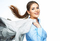 Business woman hold motion suit. Royalty Free Stock Photo