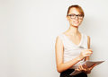 Business woman hold pages of paper