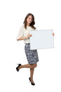 Business woman holding banner Royalty Free Stock Photo