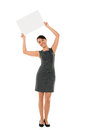 Business woman holding banner happy a isolated over white Stock Photos