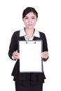 Business woman holding a blank clipboard isolated on white background Royalty Free Stock Photo