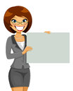 Business woman holding a blank placard Stock Photography