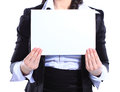 Business woman holding blank placard happy smiling young isolated on white Stock Images