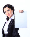 Business woman holding blank placard happy smiling young isolated on white Stock Photos