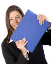 Business woman holding blue folder Stock Images