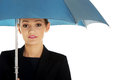 Business woman is holding blue umbrella beautiful Stock Photography