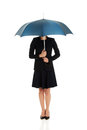 Business woman is holding blue umbrella beautiful Royalty Free Stock Images