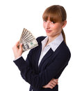 Business woman holding cash dollars happy in the hands of welcoming smile the concept of finance success isolated space for text Stock Images