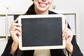 Business woman holding chalkboard Royalty Free Stock Photos