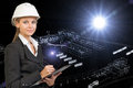 Business woman holding clipboard. Wire-frame Royalty Free Stock Photo