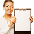 Business woman holding empty white board Royalty Free Stock Photography