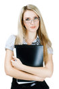 Business woman holding a folder and looking at cam Stock Photos