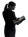 Business woman  holding folders files writing silhouette Royalty Free Stock Photo