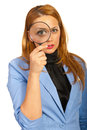 Business woman holding magnifier Stock Images