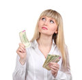 Business woman holding money Royalty Free Stock Photo