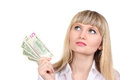 Business woman holding money Stock Image