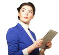 Business woman holding a tablet computer Royalty Free Stock Photo