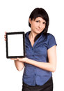 Business woman holding a tablet computer isolated over white background Stock Image