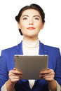 Business woman holding a tablet computer isolated over white background Stock Photos