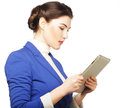 Business woman holding a tablet computer isolated over white background Royalty Free Stock Photo