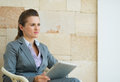 Business woman holding tablet PC Royalty Free Stock Photo