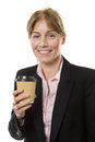 Business woman holding a takeaway cup close up studio shot of happy of coffee isolated on white Stock Photography