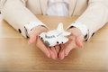 Business woman holding a toy plane Royalty Free Stock Photo