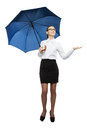 Business woman holding a umbrella isolated portrait of beautiful on white background Royalty Free Stock Images